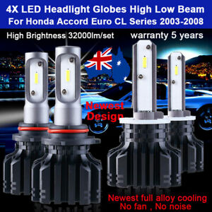 For Honda Accord Euro CL 2003-2008 4x Headlight Globes High Low beam LED bulb AU