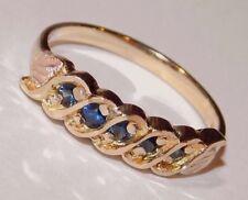 Black Hills Gold Blue Sapphire Ladies Band Ring 10 kt 12 kt Size 6
