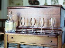 Dollhouse Miniature Artisan Crystal Glass Decanter & Glasses 1:12