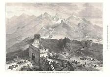 Great Wall of China -  Original Antique Print   -   1873