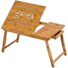 Table de lit pliable pour PC portable notebook iPad tablet en bambou avec tiroir