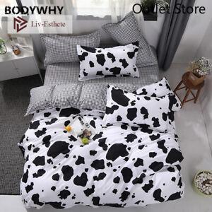 Cartoon Cow Bedding Set Double Queen King Bed Linen Soft Duvet Cover Flat Sheet
