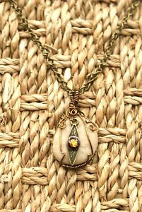 N8 - Wire Wrapped  Necklace, Agate with Dangle, Bronze Toned Chain, 30 inches.