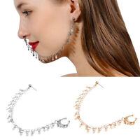 Women Boho Nose Ring Earrings Ear Stud Chain Tassel Body Piercing Chain Jewelry