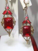 RARE ART NOUVEAU GOLD WASHED RED ENAMEL,RED RHINESTONE & PEARL DANGLE EARRINGS!