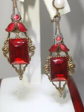 RARE ART NOUVEAU GOLD WASHED RED ENAMEL,RED RHINESTONE & PEARL DANGLE EARRINGS!