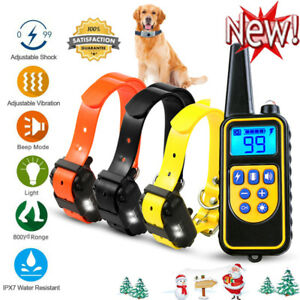 2600FT Pet Dog Training Shock Collar Rechargeable Trainer Waterproof Anti Bark