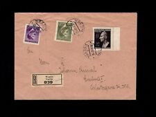 WWII Germany Bohemia Moravia Registered 1943 Hitler Heydrich Franking Cover 7k