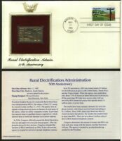 US FDC 22K Gold Stamp - Rural Electrification Administration 50th Anniversary