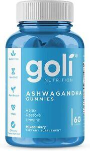 Goli Nutrition Ashwagandha Gummies Relax Restore Unwind Fast - 60 Gmmies