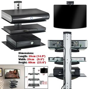 3 Tier Glass Floating Wall Mount Shelf DVD Player Sky Box Game Console Silver UK