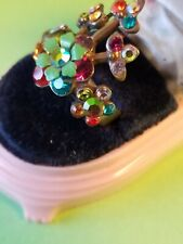 Michal Negrin Crystal Flower Ring Size 7