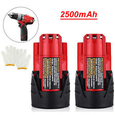 (2-pack) for Milwaukee 48-11-2401 M12 12V Volt RED Lithium-ion Battery 2500mAh