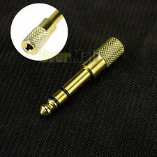 """6.5mm 1/4""""Male plug to 3.5mm 1/8""""Female Jack Stereo Headphone Audio Adapter Gold"""