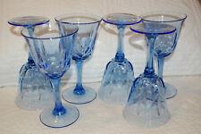 Fostoria Avon American Blue goblets/glasses 6