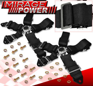 2X 3Inch 5Pt Race Seat Belt Cam Lock Harness Strap Drifting Black Universal