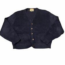 Vintage Mens Blue Mohair Blend Cardigan Sweater Fuzzy Kurt Cobain MTV Grunge
