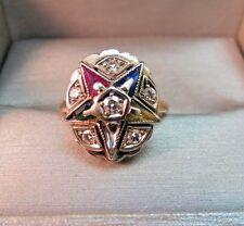 14K Yellow Gold Eastern Star Ring VTG Antique 6 Diamonds Colored Gems 4.65g
