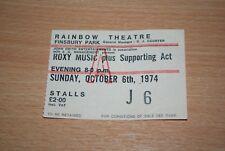 ROXY MUSIC - VERY RARE 1974 UK TICKET STUB RAINBOW THEATRE, LONDON