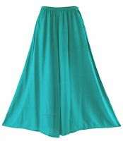 BeautyBatik Turquoise Women Palazzo Wide Leg Flare Pants Trouser Plus Size 3X