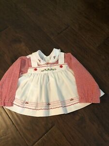 Vintage Red And White Baby Dress 12 Or 18 M