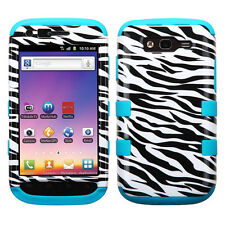 For Samsung Galaxy S Blaze 4G Rubber IMPACT TUFF HYBRID Case Cover Zebra Teal