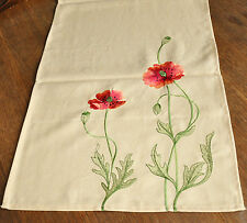 #10373 Tischläufer Tischdecke 40x160 Mohn Blumen Stickerei Beige NEU Landhaus