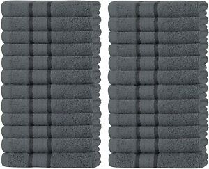 Pack of 12 & 24 Super Soft 600 GSM Washcloths Face Towels Set, 100% Cotton