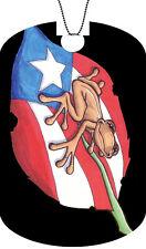 Puerto Rico Flag Adult Dog Tag Chain Necklace Boricua Leaf Version #2