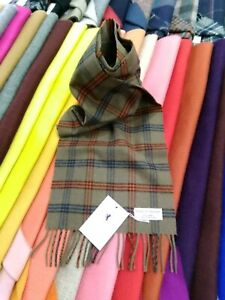 100% Pure Cashmere Scarf by House of Cashmere | Brown / Orange / Blu Check