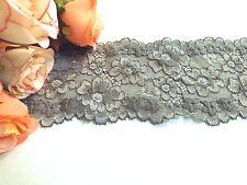 Dark Grey Stretch Lace Trim 8 cm wide #6GY601B 1 metre