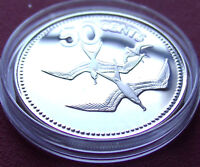 Rare .925 Silver Proof 1979 BELIZE STERLING 50 CENT PIECE Frigate Birds w HOLDER