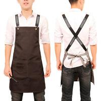 US Stock Work Apron Pockets Canvas/Denim Chef Apron Barber Pinafore Shop Uniform