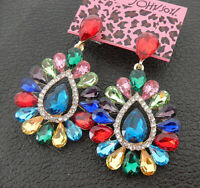 Women's Multi-Color Glass Crystal Flower Teardrop Betsey Johnson Drop Earrings