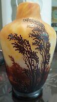 Daum Nancy France 1906 French Cameo Glass Art Nouveau Vase 10-3/4 inch high