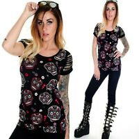 BANNED SUGAR SKULLS T SHIRT PUNK GOTHIC SLASHED SHORT SLEEVES ALTERNATIVE GOTH
