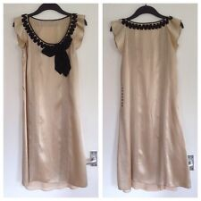 Ladies Stunning Whistles Nude & Black 100% Silk Vintage Look Dress - Size 14
