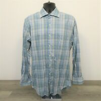Peter Millar Men's Button Up Shirt Size Medium Colorful Blue Plaid