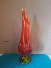 Sold Individually Mid Century Modern Viking Art Glass Orange Swung Stretch Vase