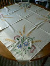 VINTAGE EMBROIDERED FLOWER TABLE TOPPER