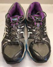 Women's Sz 9 M ASICS GEL-NIMBUS 14 Running Shoes Silver/Blue/Gray/Purple T291N