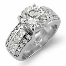 Round Princess Cubic Zirconia Solitaire Engagement Ring Sterling Silver Sz 7.5