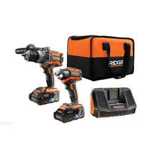 NEW Ridgid R9501 18-Volt OCTANE Hammer Drill, Impact Driver, 2 Batt & Charger
