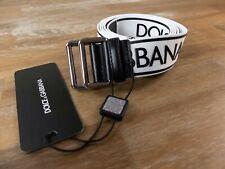 $415 DOLCE & GABBANA white black fabric & leather logo belt Size 105 / 42 - NWT