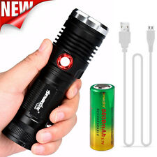 ZOOM CREE XM-L2 U2 LED 3 Mode USB Rechargeable Flashlight Torch 26650 Battery