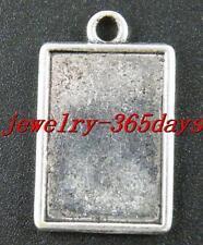50pcs Tibet Silver Rectangle Photo Frame Pendants 29x18mm 1598