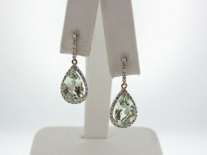 Natural Large Green Amethysts Diamonds Solid 14K Two-Tone Gold Dangle Earrings