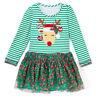 Toddler Baby Kid Girl Christmas Striped Long Sleeve Deer Tutu Dress Xmas Costume