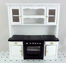 Dolls House Miniature Fitted Kitchen Furniture Black & White Oven Unit Cupboards