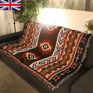 Tribal Ethnic Geometric Aztec Navajo Towel Blanket Throw Rugs Mat 130 x 160cm UK
